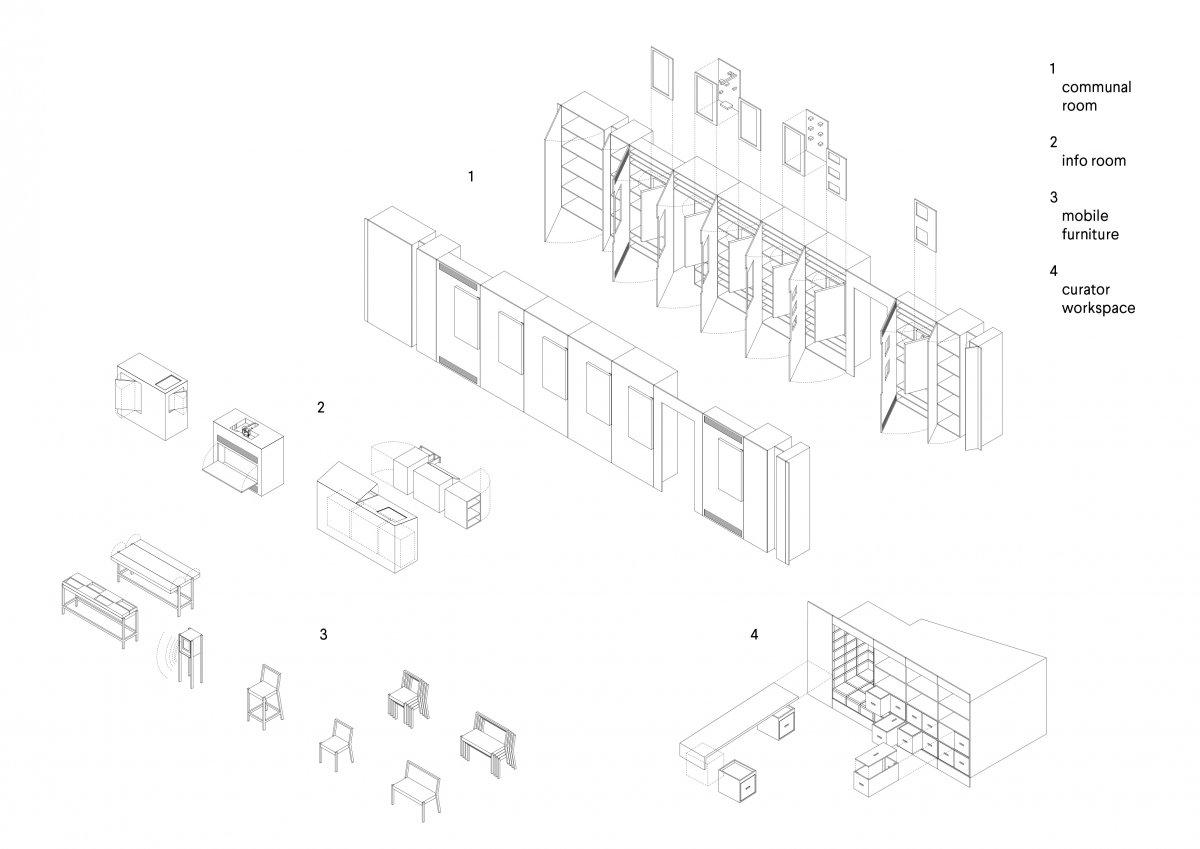 Furniture system axonometric