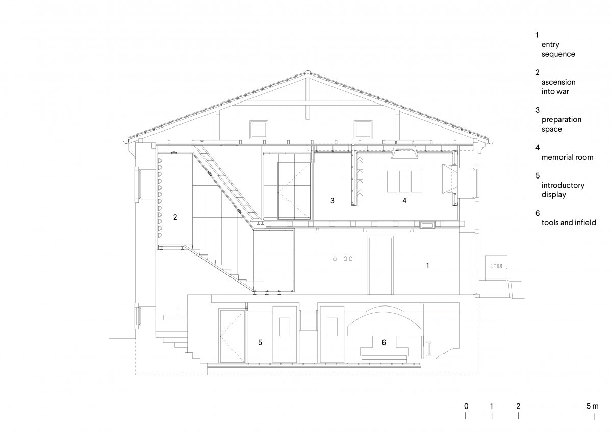 Cross section with transitional staircase element