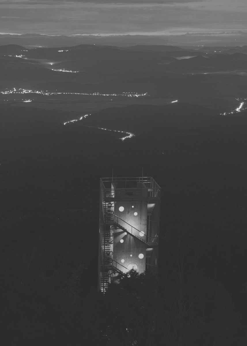 the tower in the nightly landscape