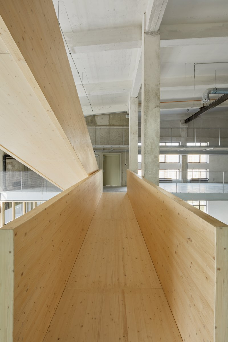 Timber ramps on 6th floor