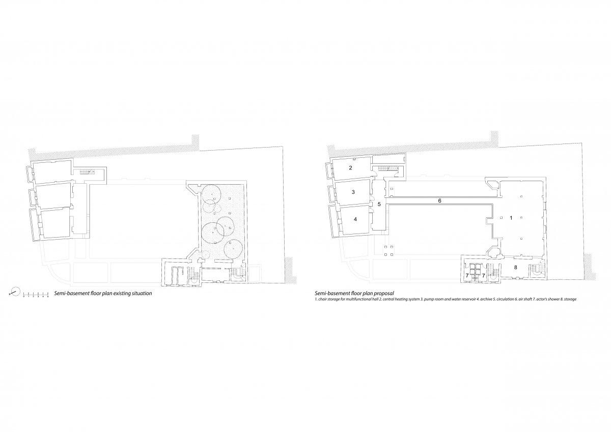 The semi-basement floor plan