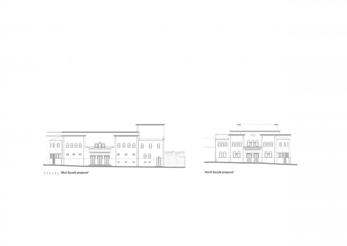West and North facades